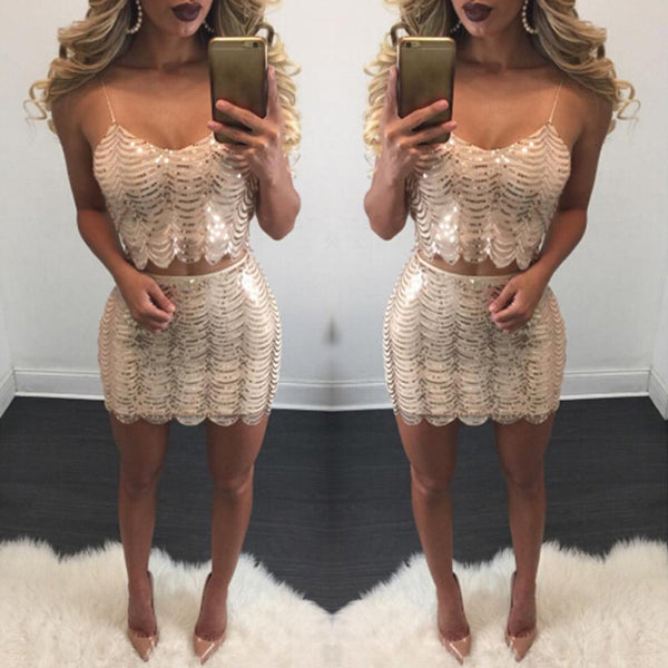 Sexy Sequined Two-Piece Dress