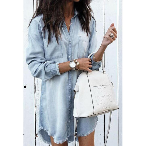 Long Sleeve Cardigan Irregular Tassel Shirt
