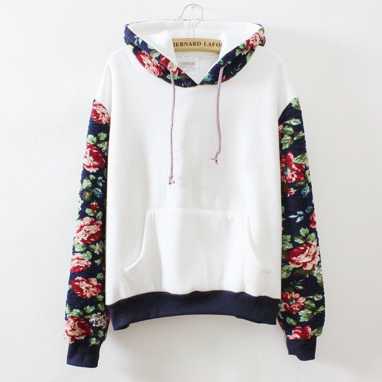 FASHION FLOWERS HOODED SWEATER