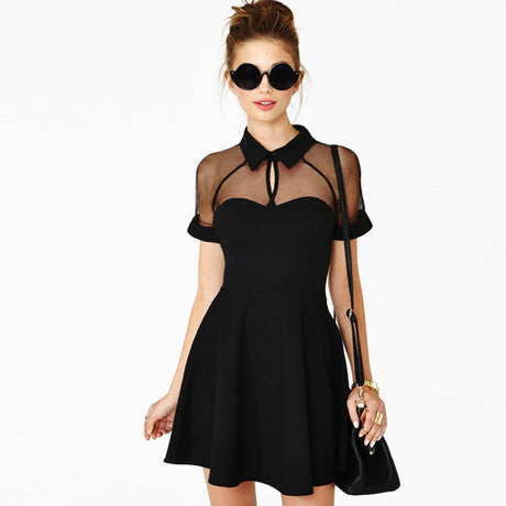 SHORT SLEEVE CHIFFON DRESS