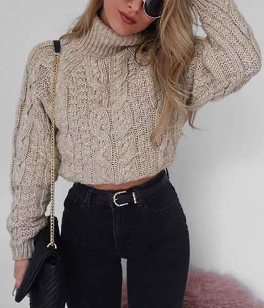 Knitted High Collar Long Sleeve Sweater