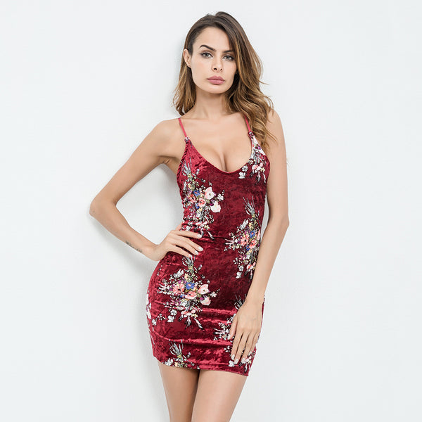 Sexy Sleeveless Print Bandage Backless Dress