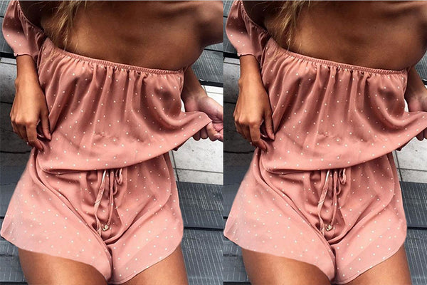 Sexy Strapless Print Rompers Jumpsuit