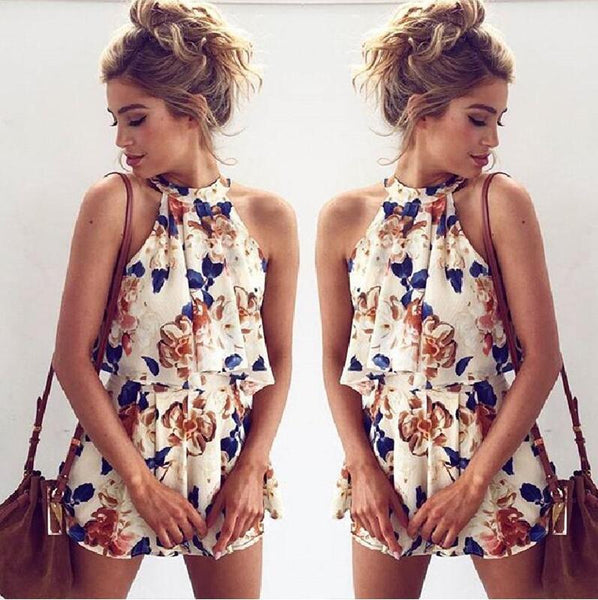 Fashion Sleeveless Print Tops Shorts Two-piece Set