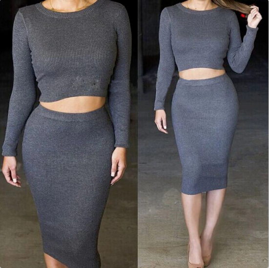 ROUND NECK LONG-SLEEVED TWO-PIECE DRESS