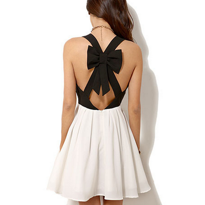 BLACK AND WHITE BOWKNOT DRESS