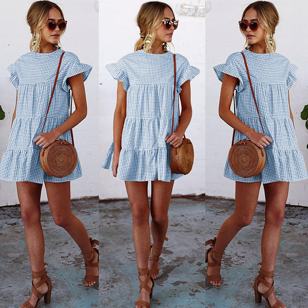 Fashion Lattice Round Neck Dress