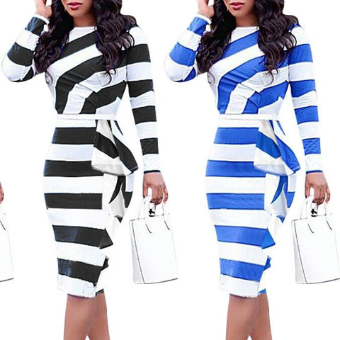 Flounced Striped Long Sleeves Dress