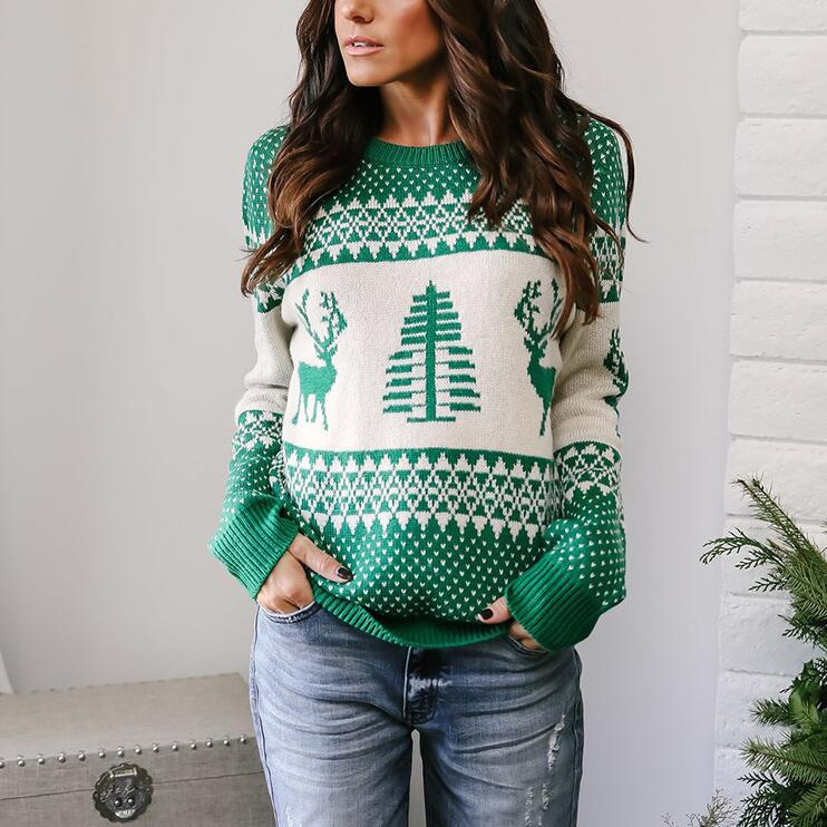 Round Neck Knitted Printed Sweater Top