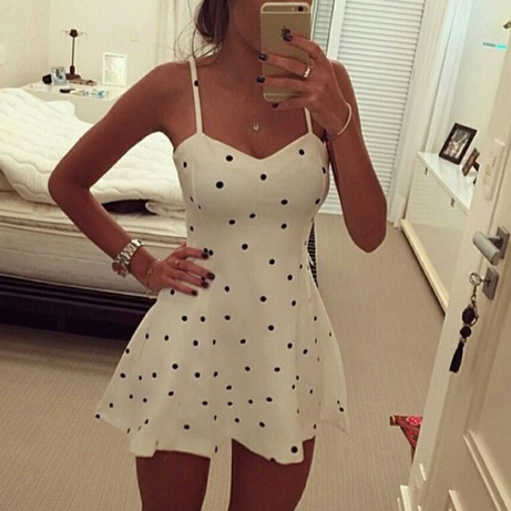 POLKA DOT SUSPENDERS SEXY DRESS