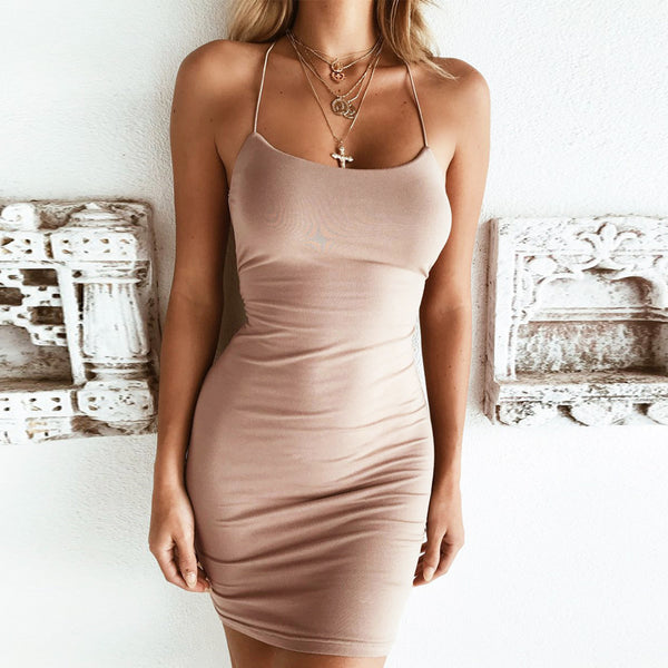 Womens Sling Sexy Backless Dress