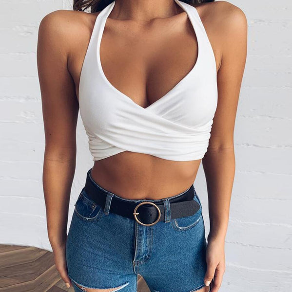 Sexy V-neck Backless Vest Crop Top