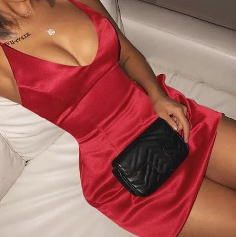 Sexy V-neck Women Solid Color Sling Dress