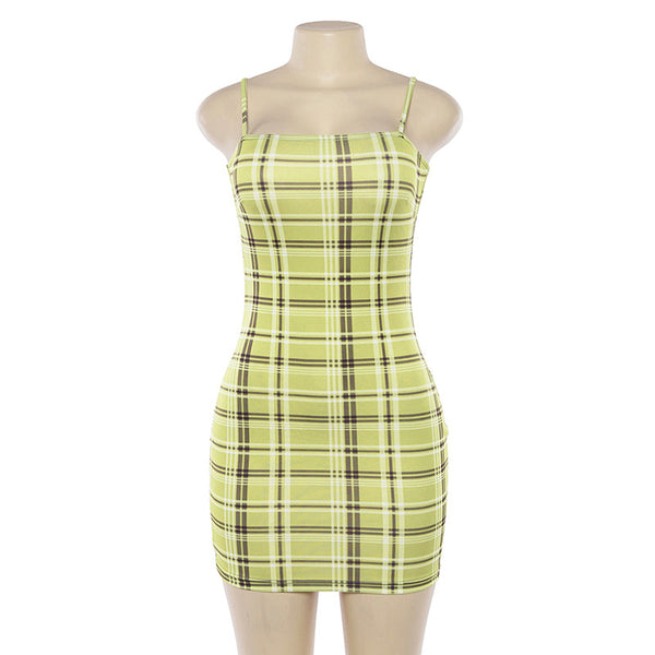 Womens Sling Sexy Print Plaid Dress