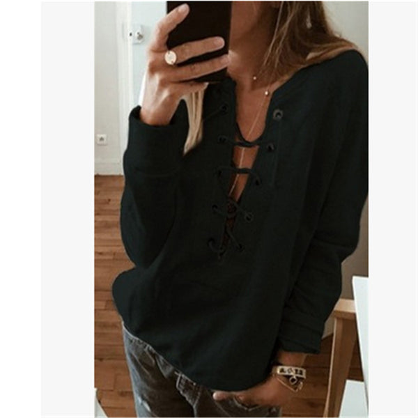 Lace Up Long Sleeve Sweatshirt Crop Top