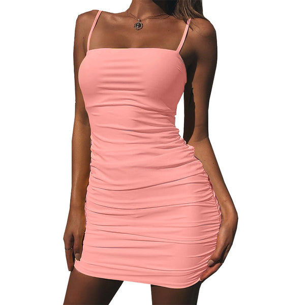 Sling Sexy Solid Color Backless Dress