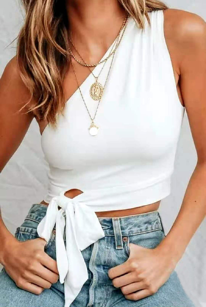 Bowknot Sleeveless Fashion Crop Top Shirt