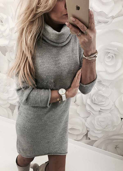 Womens High Collar Sweater Dress