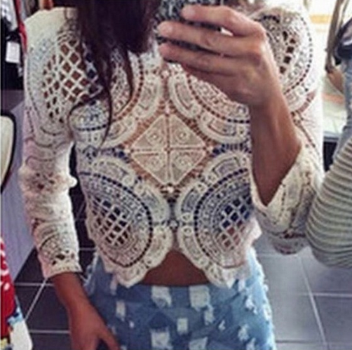 Sexy Lace Long-Sleeved Shirt