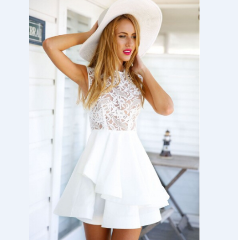 SLIM STITCHING LACE SLEEVELESS DRESS
