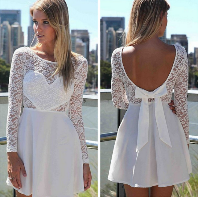 ROUND NECK LONG-SLEEVED LACE DRESS