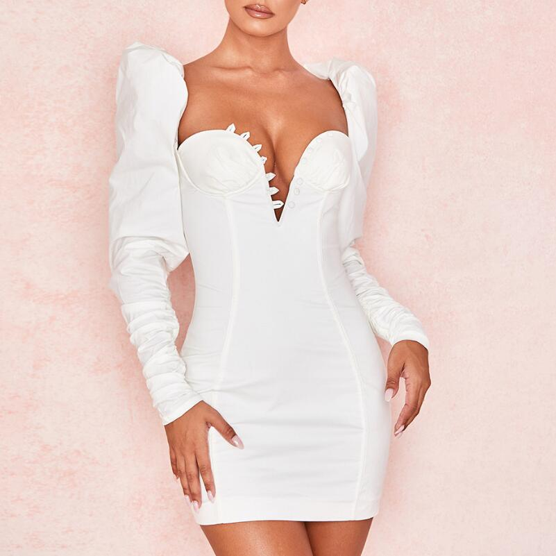 Long Sleeve Sexy Deep V-Neck Bodycon Dress