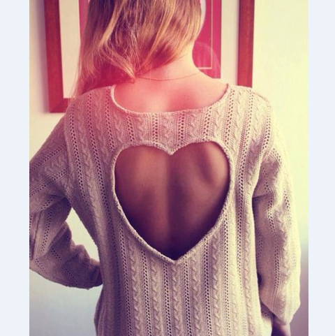 Fashion Heart-Shaped Knitted Sweater
