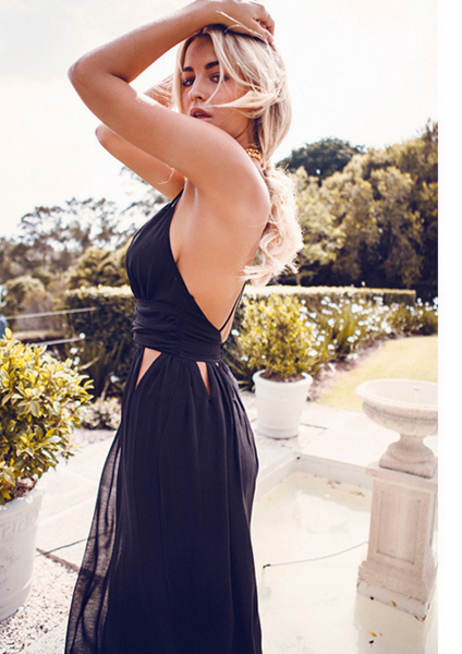Sexy V-neck backless harness dress