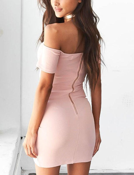 SOLID COLOR FASHION SHORT SLEEVE DRESS