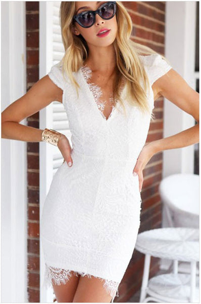 Women Sexy V-Neck Short Sleeve Lace Dress