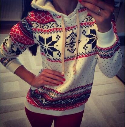 PRINTED LONG-SLEEVED HOODED SWEATER