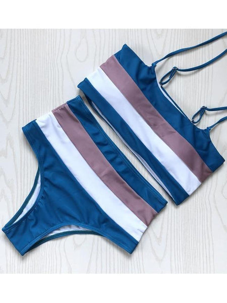 Sexy Women's Stripes Swimwear Bikini Set Swimsuit