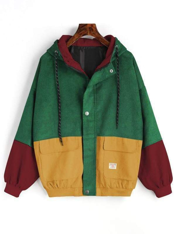 Loose Patchwork Vintage Hooded Jacket
