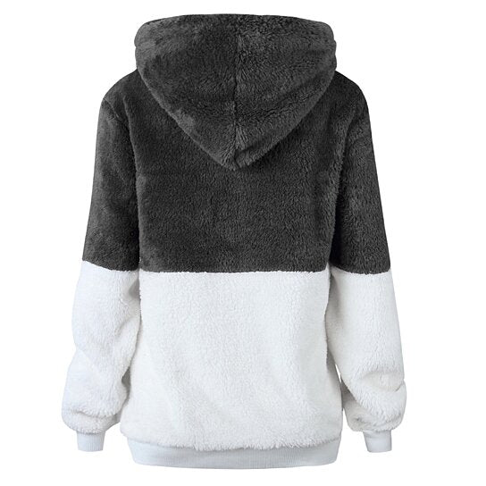 Plush Color Block Pullover Hoodie Sweater Top