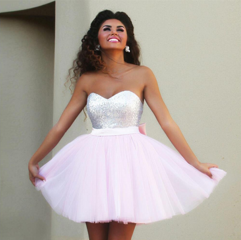 SEQUINED BOWKNOT HIGH WAIST DRESS