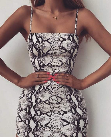 Fashion Print Serpentine Backless Dress