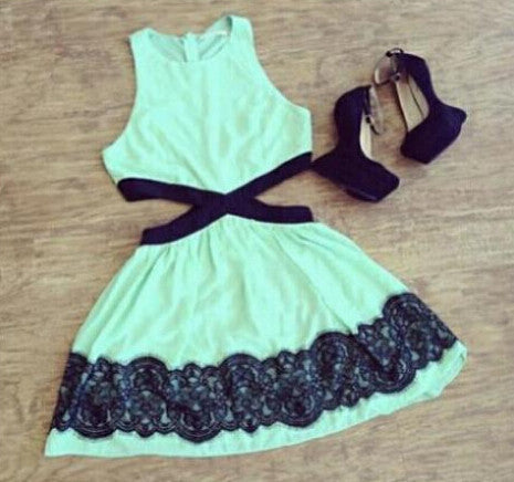 Fashion Green Lace Sleeveless Dress