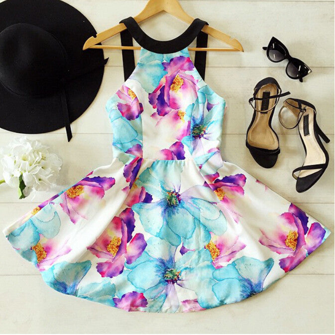 FASHION STRAPLESS PRINT DRESS