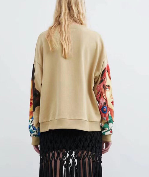 Round Neck Loose Long Sleeve Sweater