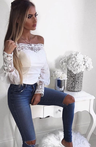 Solid Color Long-Sleeved White Lace Blouse