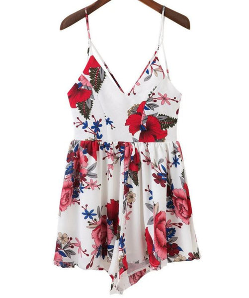 Fashion Sexy Backless Print Rompers Jumpsuits