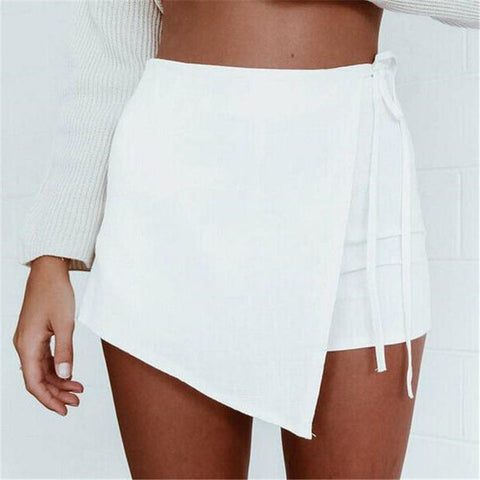Summer Style Shorts Skirts Women's Fashion Lace up Irregular Mini Sexy Shorts