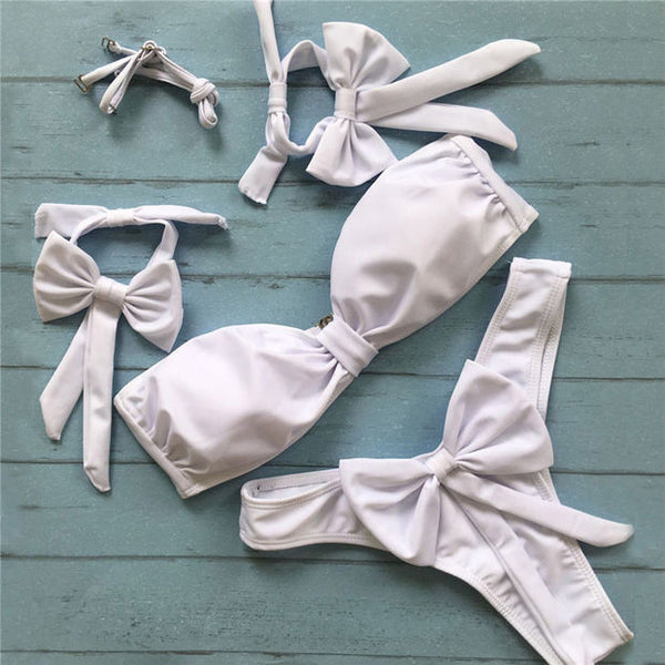 Tie Sleeve Off The Shoulder Bikini Set