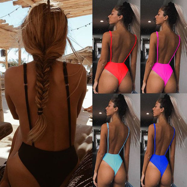 Women Sexy Solid Color One Piece Bikini Swimsuit