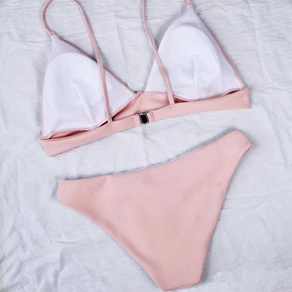 Solid Color Sexy Pink Bikini Swimsuit