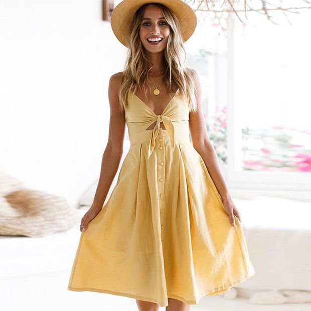 2018 Solid Color V-Neck High Waist Dress
