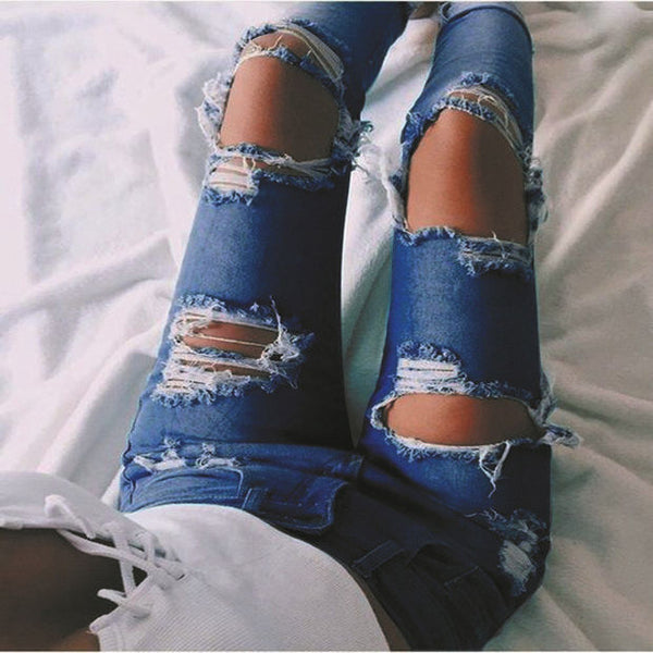 Fashion Ripped Holes Pants Jeans