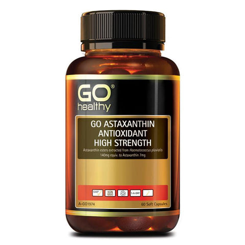 Go Healthy Astaxanthin Antioxidant High Strength 60 Soft Capsules