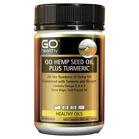 Go Healthy Hemp Seed Oil Plus Turmeric 100 Softgel Capsules