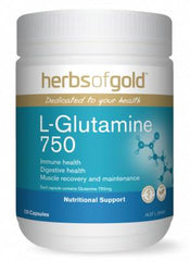 Herbs of Gold L-Glutamine 750 / 120 Capsules